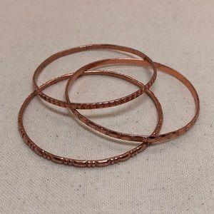 Jewelry - Vintage Copper Stacking Bangle Bracelets